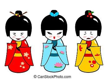 Kokeshi dolls - Traditional japanese dolls in three...