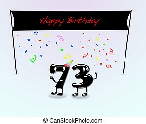73th birthday party. - Illustration for 73th birthday party...