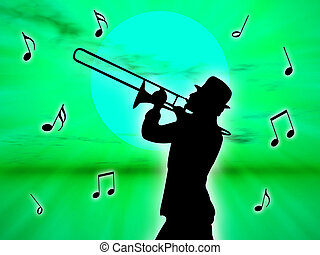 Player in the sunset - A trumpet player in the sunset...