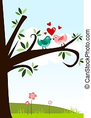 Love birds - Abstract illustration of two birds in love with...
