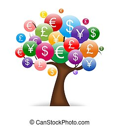 international money tree - Abstract modern design isolated...