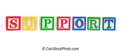 Alphabet Blocks with Support Concept on White Background