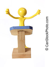 Miniature Figure on Rostrum with White Background