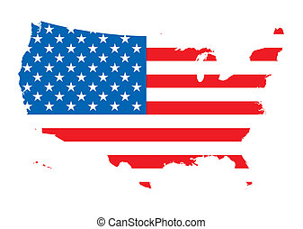 us map flag - Map of america outlined with the flag of the...