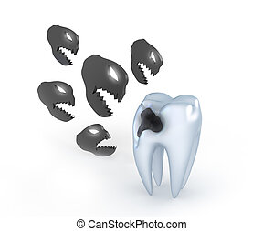 Teeth with cavities - Teeth with caries, and angry metaphor