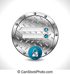 Abstract industrial login screen design with padlock button