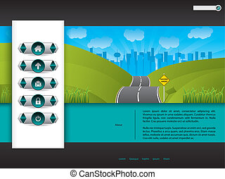 Business website template design with road picture