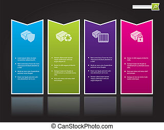 Website template design with arrow shaped color labels