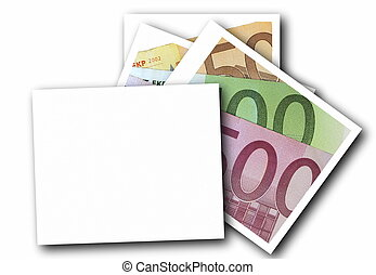Empty photo frame and euro bill isolated on white background