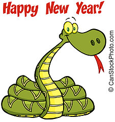 Snake With Text - Snake Cartoon Character With Text