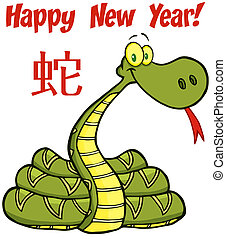 Snake With Text And Chinese Symbol - Snake Cartoon Character...