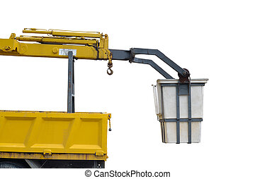 crane truck - truck crane isolated over white background