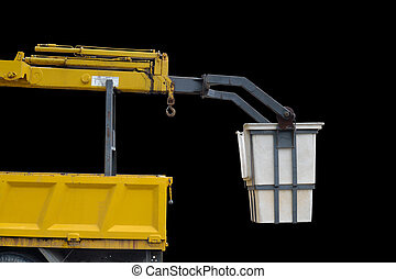 crane truck - truck crane isolated over black background
