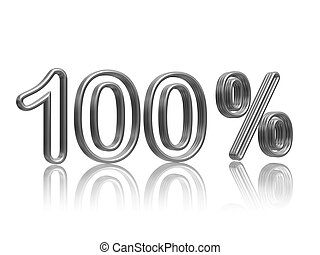 100 percent in silver - 100 percent in 3d isolated silver...