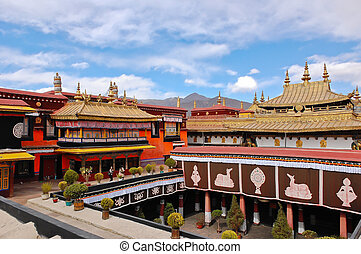Jokhang temple view from roof in Lhasa, Tibet