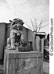 Chinese lion ghost statue - a Chinese lion ghost statue...