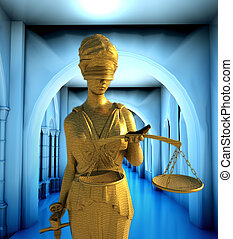 Themis in court - law abstract composition