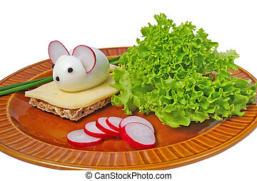 Mouse and cheese - Mouse made from eggs with cheese for...