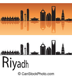 Riyadh skyline in orange background in editable vector file
