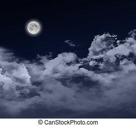 cheio, lua, noturna