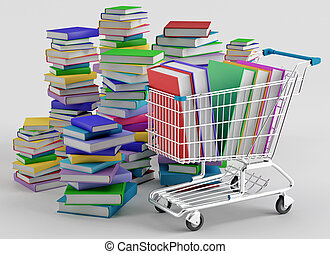 Bookstore - Stacks of colorful books next to a shopping cart