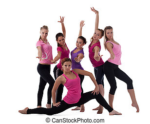 group of young fitness instructors isolated
