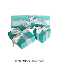Valentines gifts - Three boxes with the bows on isolated...