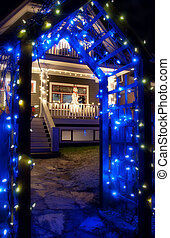 Blue Christmas Light Archway With Snowman - Blue Christmas...