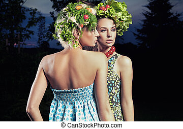 Two women with eco hair style