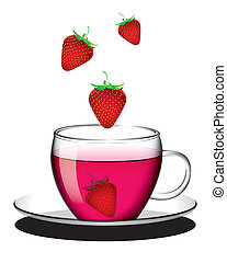 Cup of strawberry tea - The abstract of english tea in...