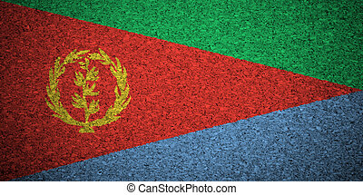 The Eritrea flag painted on a cork board