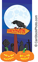 halloween - signpost and raven - all saints day, a terrible...