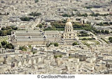 Paris Skyline with Tilt Shift Effect