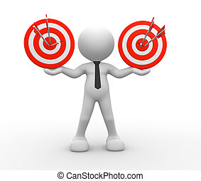 Targets - 3d people - man, person with targets and arrows.