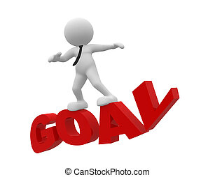 Goal - 3d people - man, person flying on word goal. The...
