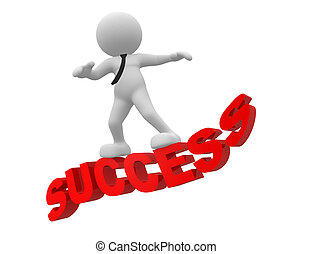 Success - 3d people - man, person flying on word success The...