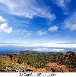 La Palma Caldera de Taburiente sea of clouds in canary...