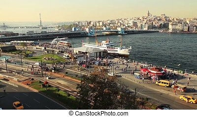 golden horn istanbul turkey - the busy city traffic at...