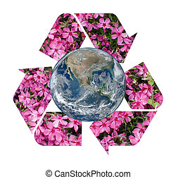 A pink floral Recycle Symbol surrounding the Earth Isolated...