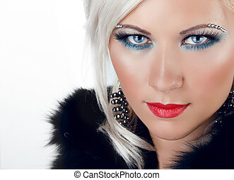 Beautiful Blond Girl with blue eyes and red lips on white...