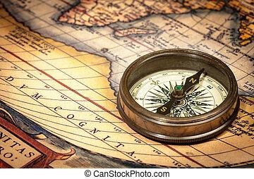 mappa, Bussola, Antico, vecchio, vendemmia