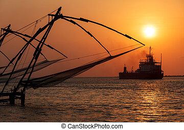 Chinese fishnets on sunset. Kochi, Kerala, India - Kochi...