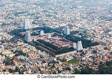 Hindu temple and indian city aerial view. Arulmigu...