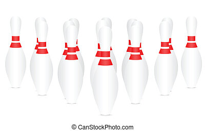 Bowling pins on a white background.
