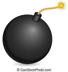 bomb - Black bomb with burning fuse on a white background...