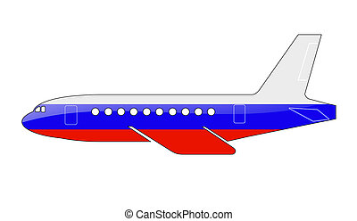 The Russian flag painted on the silhouette of a aircraft....