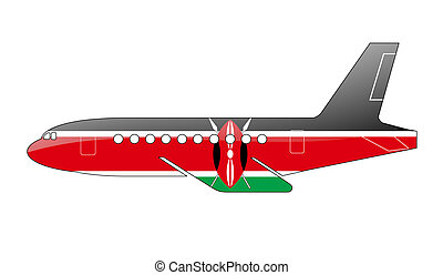 The Kenyan flag painted on the silhouette of a aircraft....