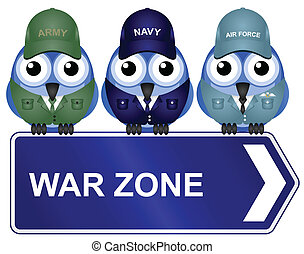 War zone sign isolated on white background