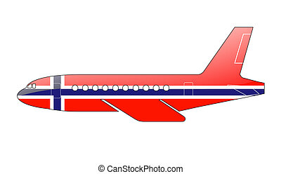 The Norwegian flag painted on the silhouette of a aircraft....
