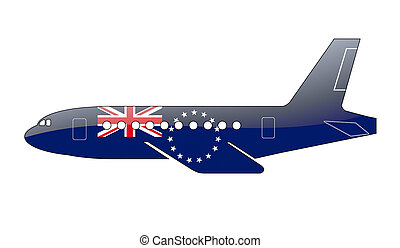 The Cook Islands flag painted on the silhouette of a...
